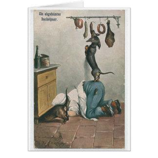 Cartão Um par de Dachshunds complicados,