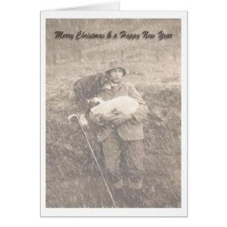 Cartão Um pastor e seu do vintage carregam