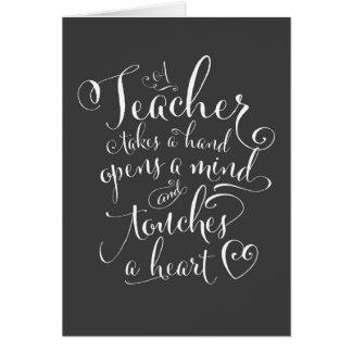 Cartão Um professor toma uma mão abre uma mente