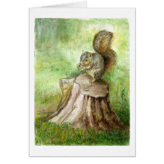 Cartão Um registro e um esquilo velhos