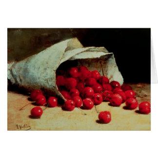 Cartão Um saco derramado das cerejas