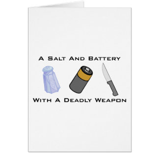 Cartão Um sal e uma bateria com uma arma mortal
