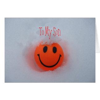 Cartão Um smiley face - o dia dos namorados do filho