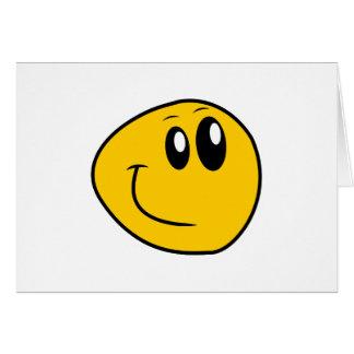 Cartão Um smiley feliz amarelo entortado