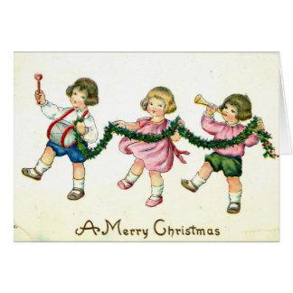 Cartão Um vintage 1913 do trio das crianças do Feliz