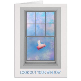 Cartão Um Vôo-Olhar do porco para fora sua janela