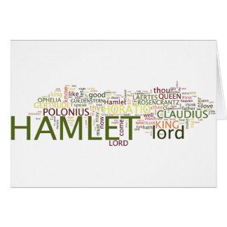 Cartão Um Wordle baseado no Hamlet de Shakespeare