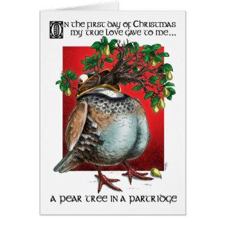 Cartão Uma árvore de pera em uma perdiz