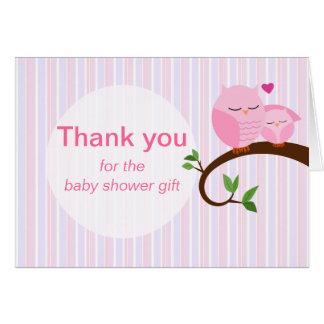 Cartão Uma buzina de um obrigado das corujas do rosa do