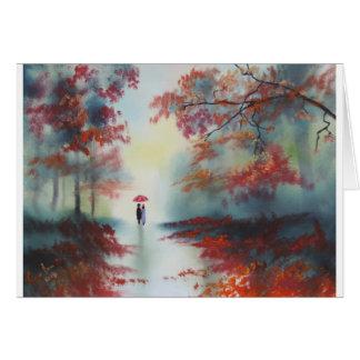 Cartão uma caminhada do outono em um dia chuvoso por