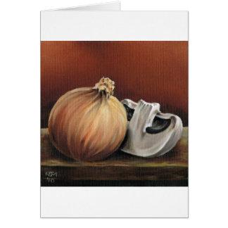 Cartão Uma cebola e um cogumelo