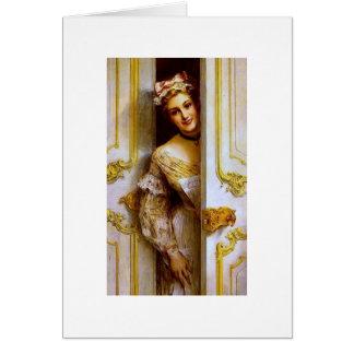 Cartão Uma empregada doméstica no amarelo