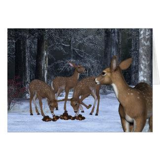 Cartão Uma família dos cervos