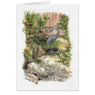 Cartão Uma garça-real só em um quintal
