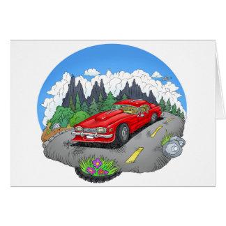 Cartão Uma ilustração dos desenhos animados de um carro