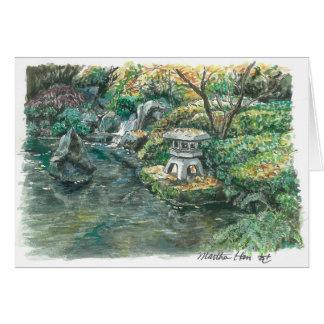 Cartão Uma lagoa com um pagode