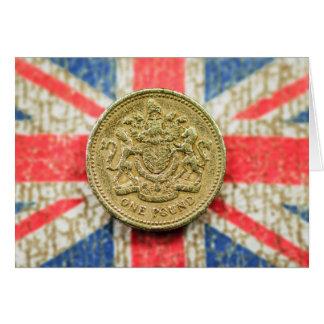 Cartão Uma libra nas canvas britânicas da bandeira