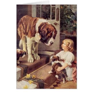 Cartão Uma menina e seus cães de St Bernard,