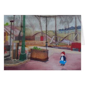 """Cartão """"Uma menina e um parque de diversões… """""""
