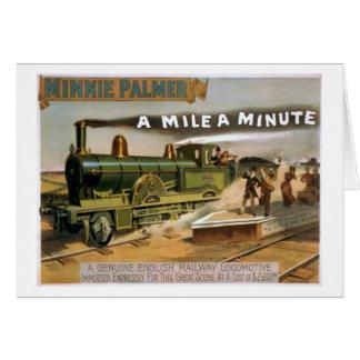 """Cartão """"Uma milha"""" um poster minúsculo do trem do teatro"""