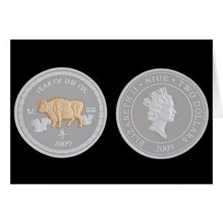 Cartão Uma moeda de prata comemorativa