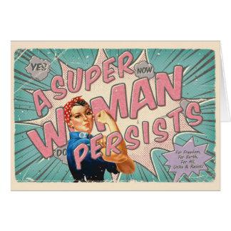 Cartão Uma mulher super persiste