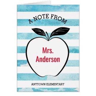 Cartão Uma nota do professor mim Apple & listras da
