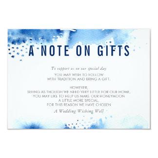 Cartão UMA NOTA na aguarela à moda dos PRESENTES azul