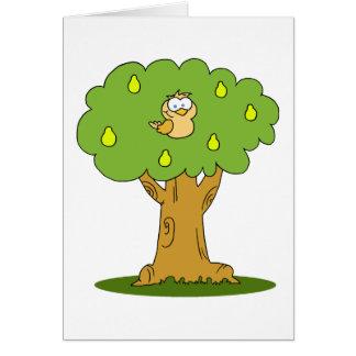Cartão Uma perdiz em uma árvore de pera