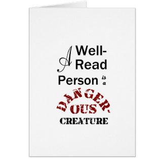 Cartão Uma pessoa versado é uma criatura perigosa