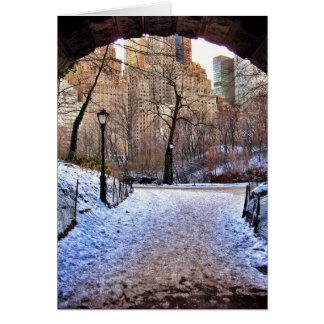 Cartão Uma ponte do Central Park no inverno