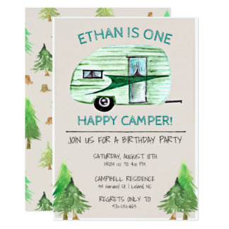 Cartão Uma primeira festa de aniversário do campista
