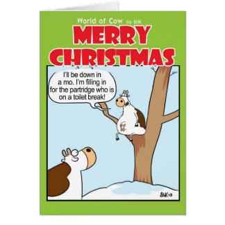 Cartão Uma vaca em uma árvore de pera