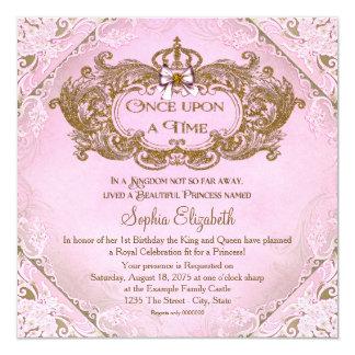 Cartão Uma vez primeiro aniversario da princesa