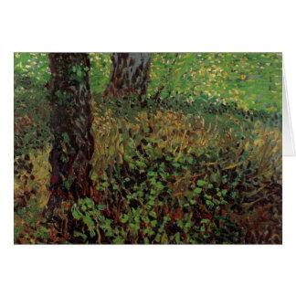 Cartão Undergrowth de Van Gogh, arte do impressionismo do