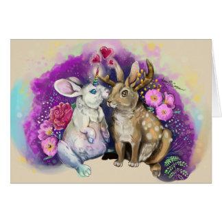 Cartão Unibunny beija o amor mágico de Jackalope