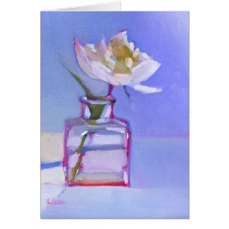 Cartão 'Única peônia branca em Vase de vidro