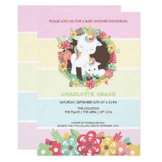 Cartão Unicórnio bonito chá de fraldas personalizado