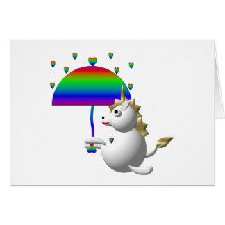 Cartão Unicórnio bonito com um guarda-chuva