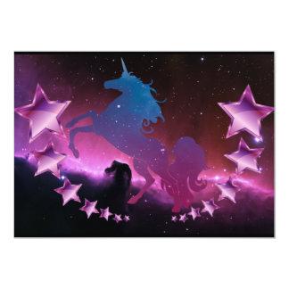 Cartão Unicórnio com estrelas