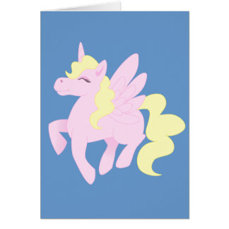 Cartão Unicórnio cor-de-rosa bonito Pegasus (Unipeg)
