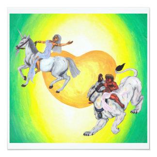 Cartão Unicórnio da equitação da deusa da leoa da