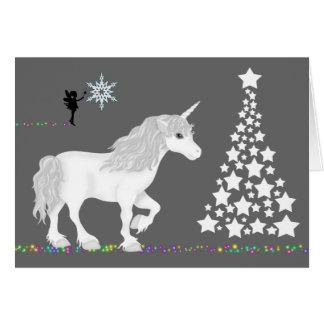 Cartão Unicórnio da fantasia, fada e árvore de Natal