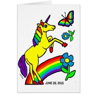 Cartão Unicórnio da igualdade do arco-íris