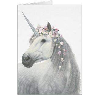 Cartão Unicórnio do espírito com as flores na juba