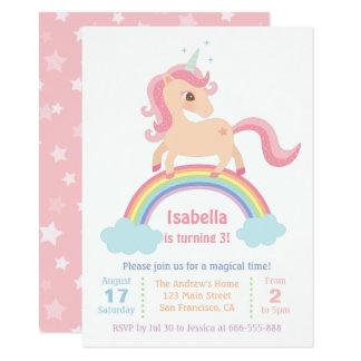 Cartão Unicórnio mágico na festa de aniversario de