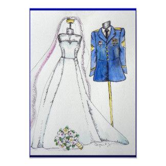 Cartão Uniforme do exército e vestido de casamento
