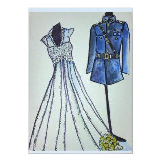 Cartão Uniforme do oficial e vestido de casamento vintage