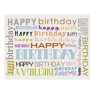 Cartão unisex da tipografia do feliz aniversario