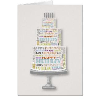 Cartão unisex do bolo da tipografia do feliz